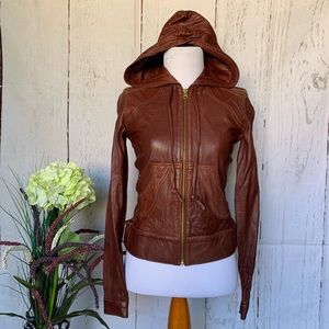 Mike & Chris Donovan Lambskin Leather Jacket Brown